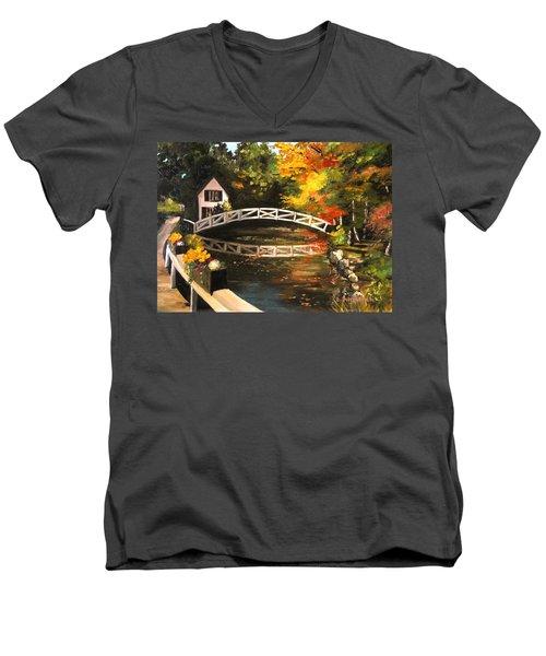 Somesville Maine Footbridge Men's V-Neck T-Shirt by Eileen Patten Oliver