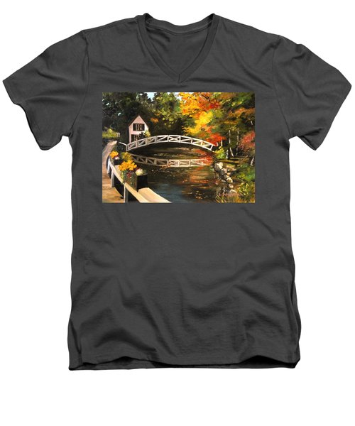 Somesville Maine Footbridge Men's V-Neck T-Shirt