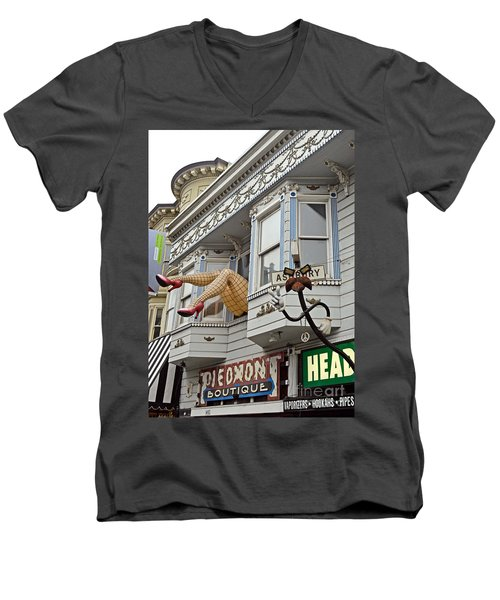 Something To Find Only The In The Haight Ashbury Men's V-Neck T-Shirt by Jim Fitzpatrick