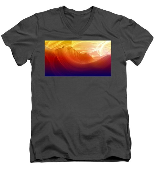Men's V-Neck T-Shirt featuring the photograph Somewhere In America Series - Colorful Light In Antelope Canyon by Lilia D