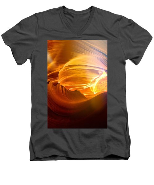 Men's V-Neck T-Shirt featuring the photograph Somewhere In America Series - Gold Colors In Antelope Canyon by Lilia D