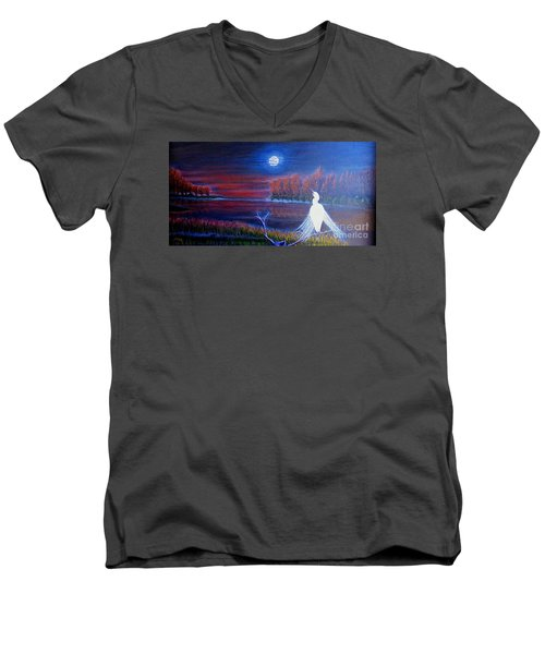 Song Of The Silent Autumn Night Men's V-Neck T-Shirt by Kimberlee Baxter