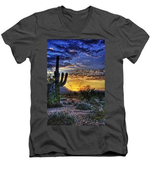 Sonoran Sunrise  Men's V-Neck T-Shirt by Saija  Lehtonen