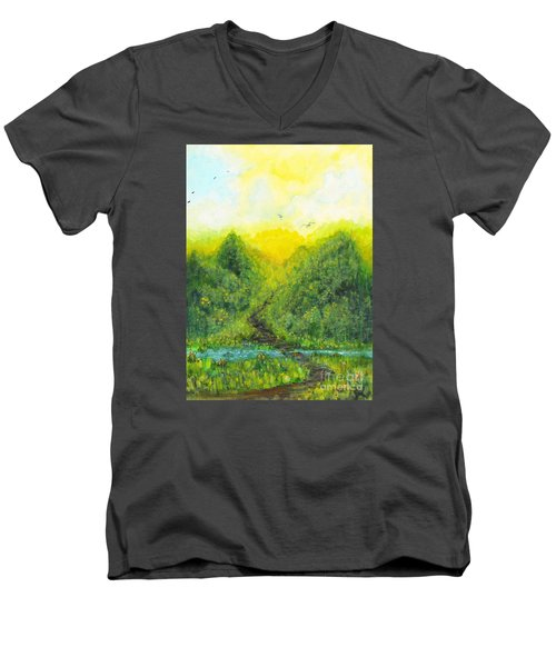 Men's V-Neck T-Shirt featuring the painting Sonsoshone by Holly Carmichael