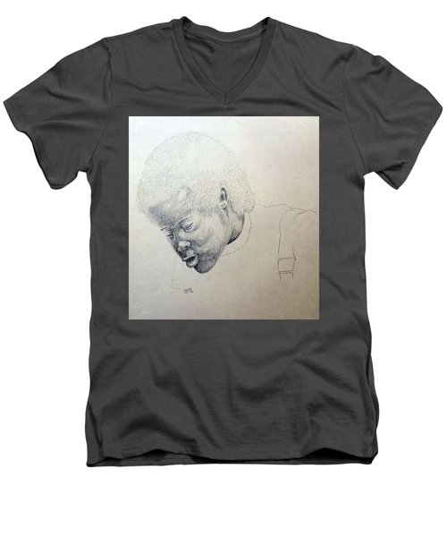 Men's V-Neck T-Shirt featuring the drawing Sorrow by Richard Faulkner