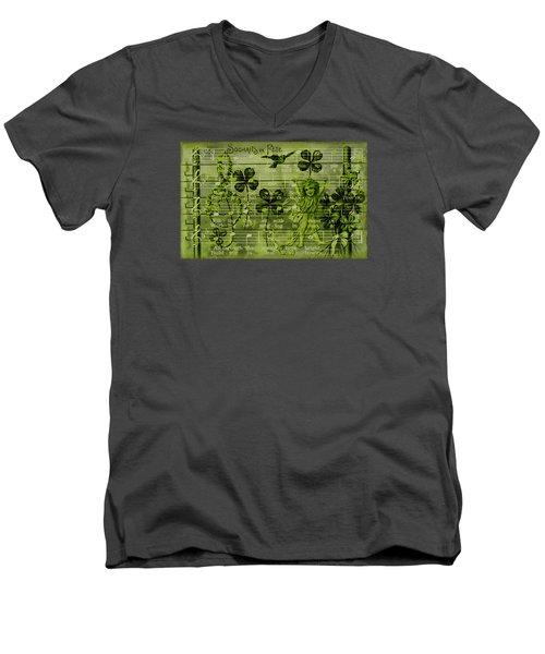 Men's V-Neck T-Shirt featuring the digital art Souhaits De Fete by Sandra Foster