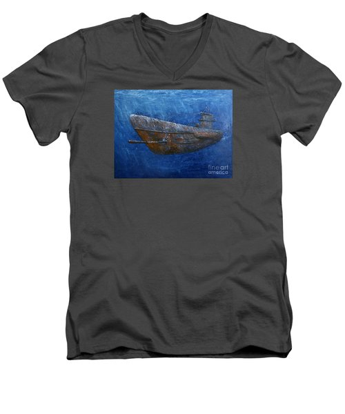 Men's V-Neck T-Shirt featuring the painting Soul Hunter by Arturas Slapsys