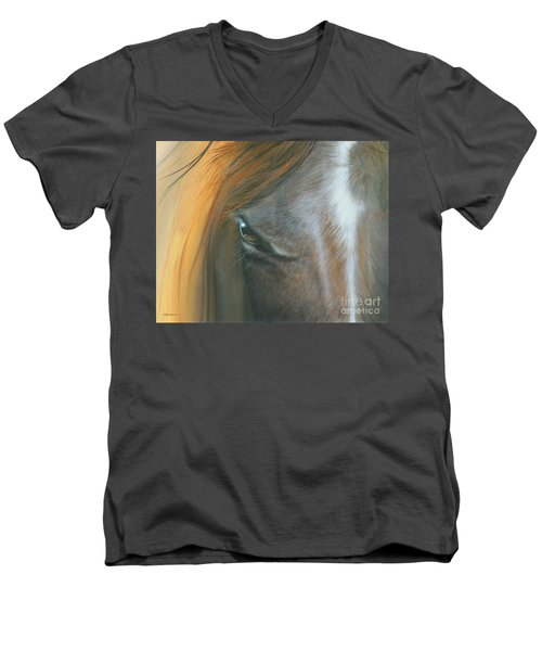 Men's V-Neck T-Shirt featuring the painting Soul Within by Mike Brown