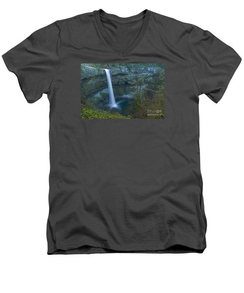 Men's V-Neck T-Shirt featuring the photograph South Falls Winterscape by Nick  Boren
