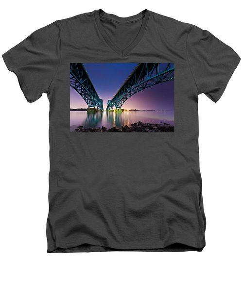Men's V-Neck T-Shirt featuring the photograph South Grand Island Bridge by Mihai Andritoiu
