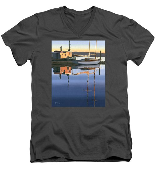 South Harbour Reflections Men's V-Neck T-Shirt by Gary Giacomelli