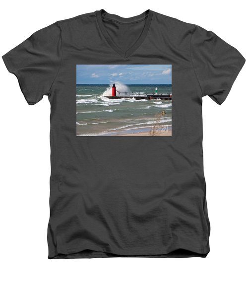 South Haven Splash Men's V-Neck T-Shirt by Ann Horn
