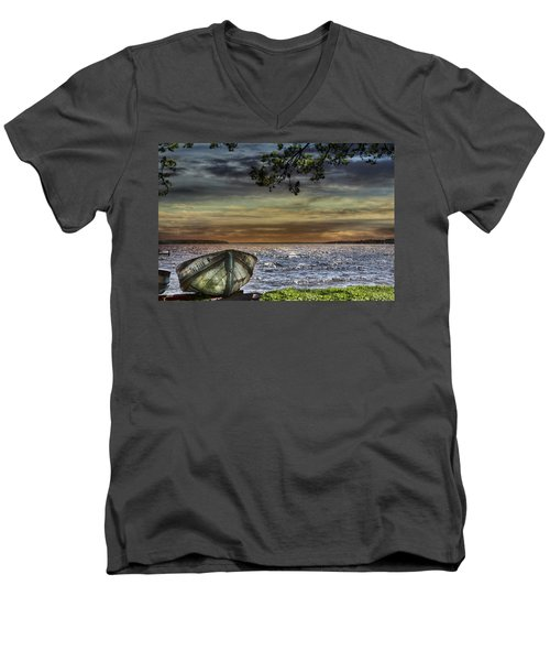 South Manistique Lake With Rowboat Men's V-Neck T-Shirt