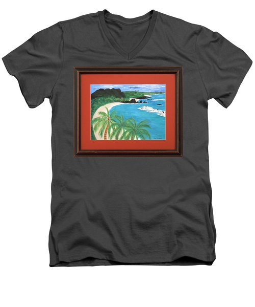 Men's V-Neck T-Shirt featuring the painting South Pacific by Ron Davidson
