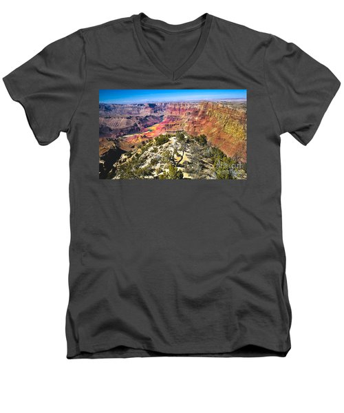 South Rim From The Butte Men's V-Neck T-Shirt by Robert Bales