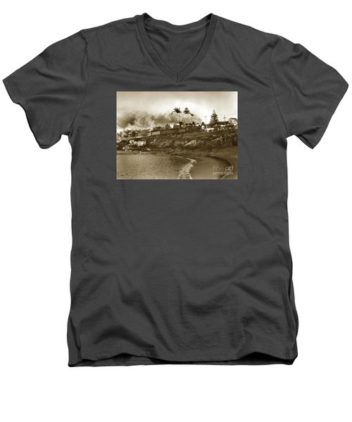 Southern Pacific Del Monte Passenger Train Pacific Grove Circa 1954 Men's V-Neck T-Shirt by California Views Mr Pat Hathaway Archives