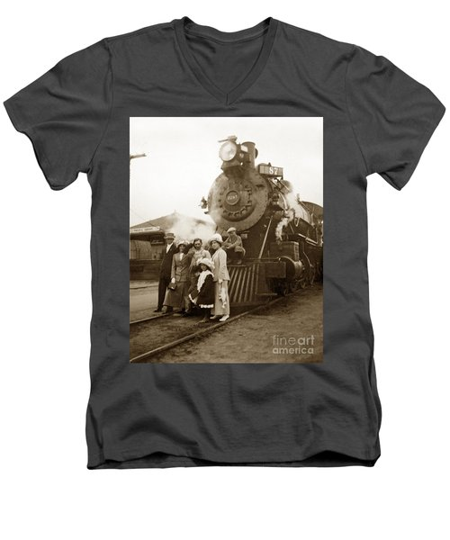 S P Baldwin Locomotive 2285  Class T-26 Ten Wheel Steam Locomotive At Pacific Grove California 1910 Men's V-Neck T-Shirt
