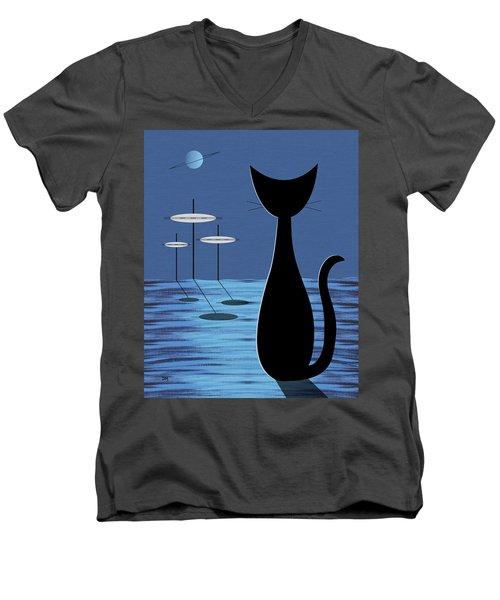Space Cat In Blue Men's V-Neck T-Shirt