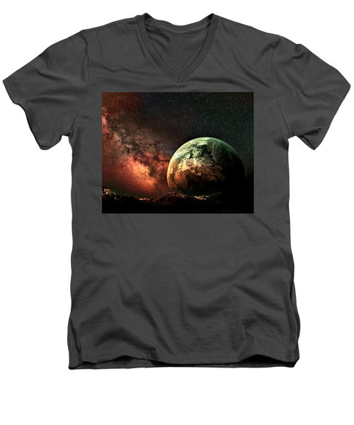 Spaced Out Men's V-Neck T-Shirt by Ally  White