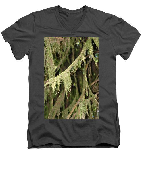Spanish Moss In Olympic National Park Men's V-Neck T-Shirt by Connie Fox