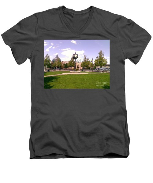 Men's V-Neck T-Shirt featuring the photograph Sparks Community Clock by Bobbee Rickard