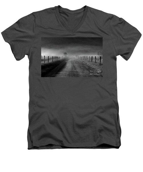 Sparks Lane In Black And White Men's V-Neck T-Shirt by Douglas Stucky