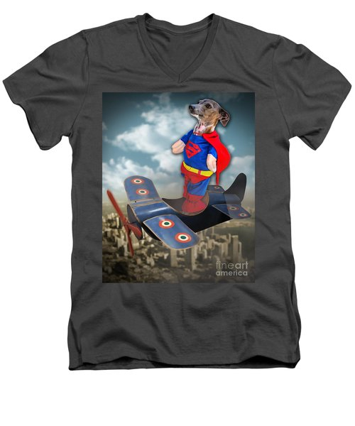 Men's V-Neck T-Shirt featuring the digital art Speedolini Flying High by Kathy Tarochione