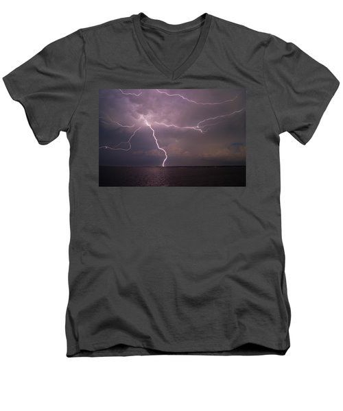 Spider Lightning Over Charleston Harbor Men's V-Neck T-Shirt
