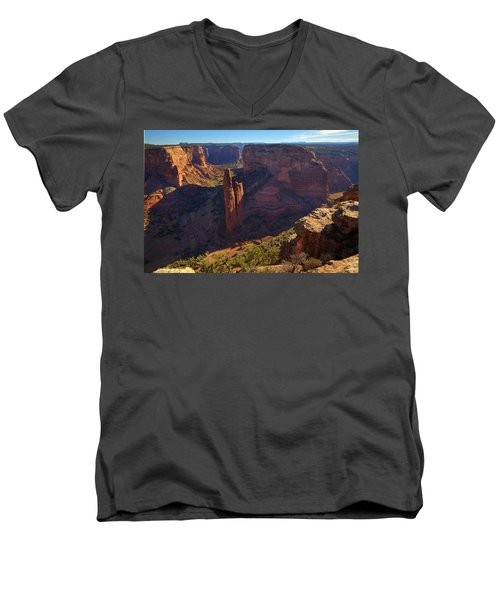 Men's V-Neck T-Shirt featuring the photograph Spider Rock Sunrise by Alan Vance Ley