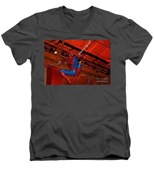 Spiderman Swinging Through The Air Men's V-Neck T-Shirt