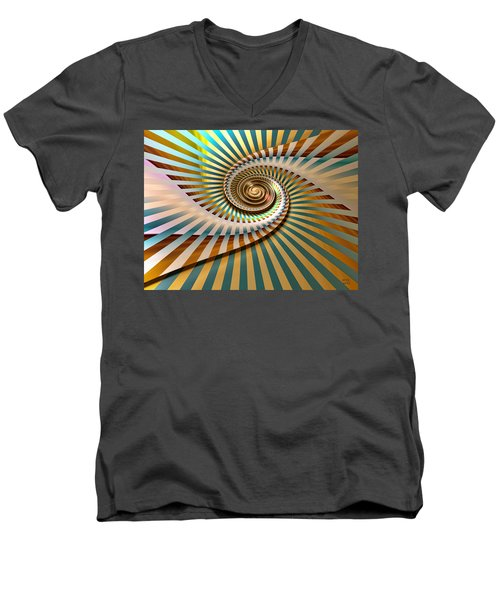 Men's V-Neck T-Shirt featuring the digital art Spin by Manny Lorenzo