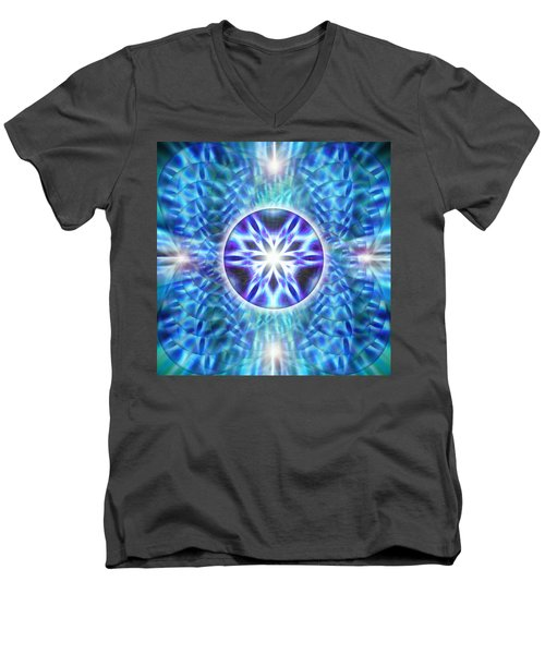 Men's V-Neck T-Shirt featuring the drawing Spiral Compassion by Derek Gedney