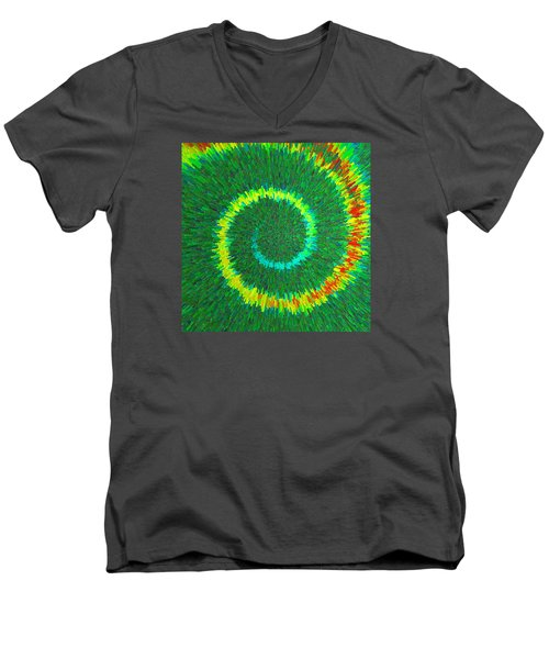 Men's V-Neck T-Shirt featuring the painting Spiral Rainbow C2014 by Paul Ashby