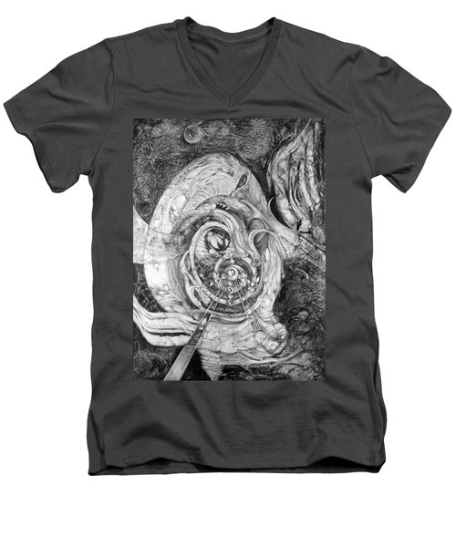 Men's V-Neck T-Shirt featuring the painting Spiral Rapture 2 by Otto Rapp