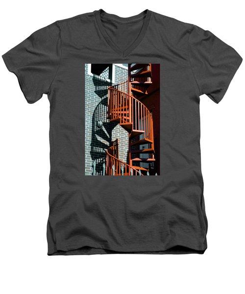 Spiral Stairs - Color Men's V-Neck T-Shirt by Darryl Dalton