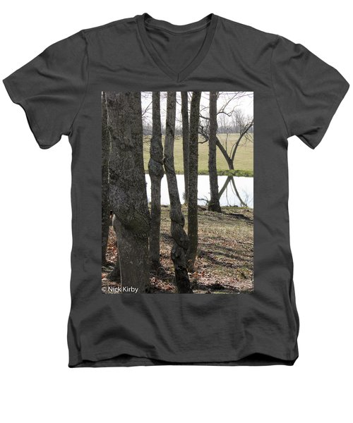 Men's V-Neck T-Shirt featuring the photograph Spiral Trees by Nick Kirby