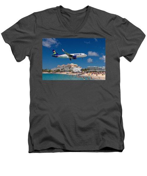 Spirit Airlines Low Approach To St. Maarten Men's V-Neck T-Shirt