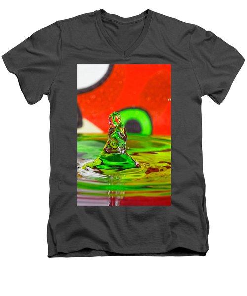 Men's V-Neck T-Shirt featuring the photograph Splas by Peter Lakomy