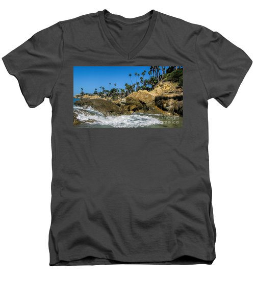 Men's V-Neck T-Shirt featuring the photograph Splash by Tammy Espino