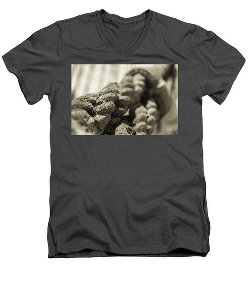 Spliced And Bound Black And White Sepia Men's V-Neck T-Shirt