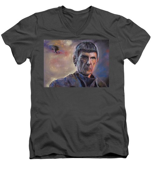 Men's V-Neck T-Shirt featuring the mixed media Spock by Peter Suhocke