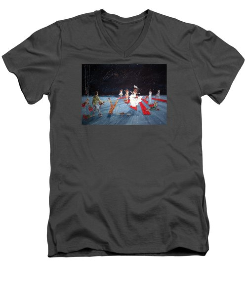 Spontaneous Gallantry Men's V-Neck T-Shirt by Lazaro Hurtado