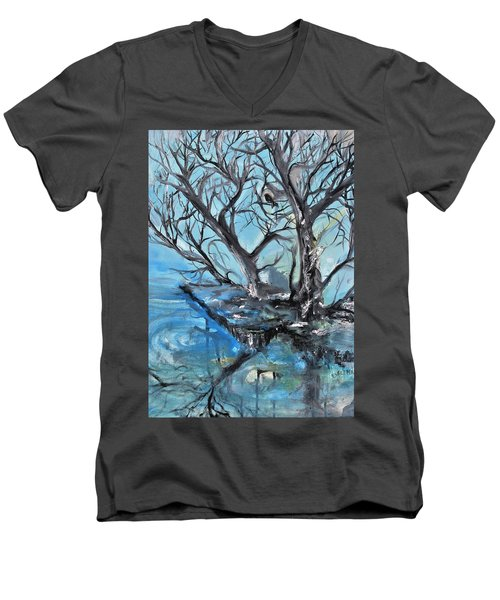 Men's V-Neck T-Shirt featuring the painting Spooky Mood by Evelina Popilian