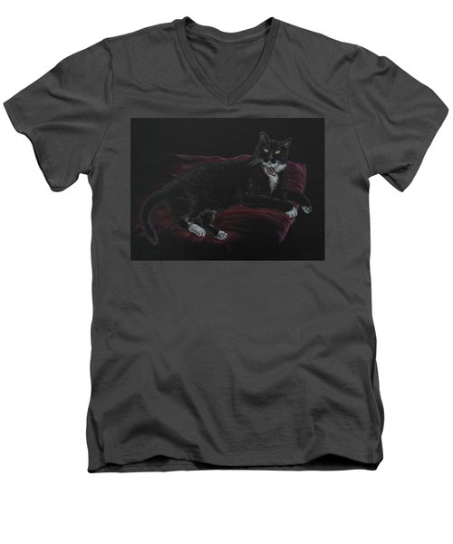 Spooky The Cat Men's V-Neck T-Shirt by Michele Myers