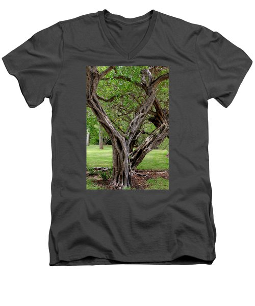 Men's V-Neck T-Shirt featuring the photograph Spooky Tree by Rosalie Scanlon