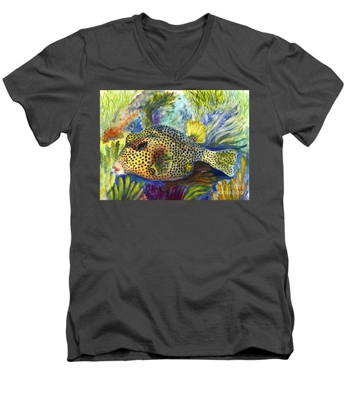 Men's V-Neck T-Shirt featuring the painting Spotted Trunkfish by Carol Wisniewski