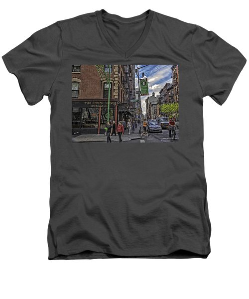 Spring And Mulberry - Street Scene - Nyc Men's V-Neck T-Shirt