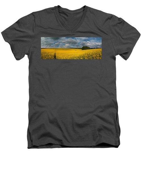 Spring At Oilseed Rape Field Men's V-Neck T-Shirt