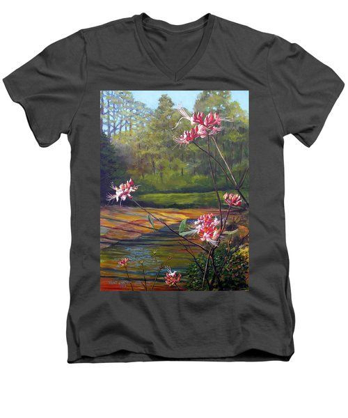 Spring Blooms On The Natchez Trace Men's V-Neck T-Shirt by Jeanette Jarmon