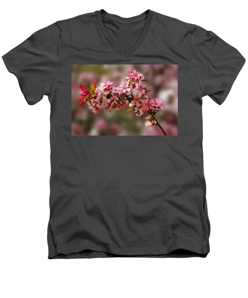 Cheery Cherry Blossoms Men's V-Neck T-Shirt